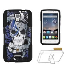 Alcatel One Touch Pop Astro 5042T Skull Hard Soft 2 Layer Protection Case
