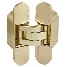 Concealed Invisible Hidden Mortice Door Hinges 3D Adjustable, 180°, Satin Brass