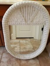 "LARGE White Wicker Oval Oblong Wall Mirror 37"" x 22 5/8"" Shabby Chic Cottage FS"