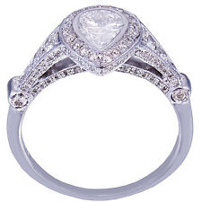 18K White Gold Pear Shape Diamond Bezel Set Engagement Ring 2.05Ct H-Si1 Egl Usa