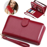 Lady Leather Wallet Long Zip Purses Card Holder Case Phone Clutch Large Handbags