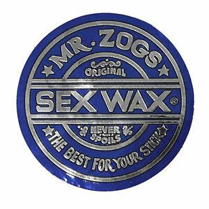 "Mr. Zoggs SEX WAX STICKER 7"" CIRCULAR METALLIC BLUE"