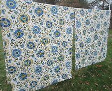 Calico Corners Custom Lined Drapery 2 Panels 103 x 46 White Green Blue Folk Art
