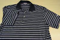 Peter Millar Summer Comfort Black White Striped Short Sleeve Golf Shirt Sz M EUC