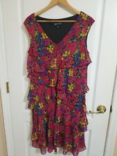 Jones New York Size 14 Bright Colorful Floral Ruffle V-Neck Dress