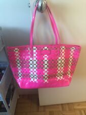 Kate Spade Patent Neon Pink Tote Featuring Woven Cork