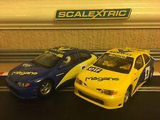 Scalextric Renault Megane No6 y No9 completamente reparado con nuevo Trenzas Equipada