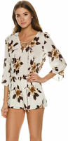 Womens O'neill Romper Large Lace Up White 3/4 Sleeve Floral New 4642