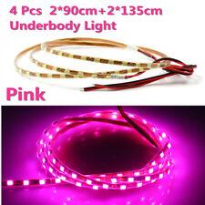 4xPink LED Strip Under Car Motorcycle Underglow System Neon Light Kit Waterproof