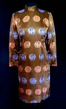 Raro Diseñador a Medida Calidad 604mS Marrón Seda Brocado Vestido Talla 6