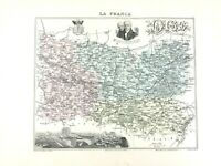1893 Antique Map of Oise Beauvais France French Regional Hand Coloured
