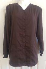 GREYS ANATOMY Scrub Top Jacket Coat Long Sleeves Snap Up Brown XL