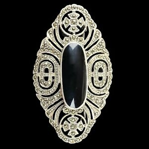 Vintage 925 Sterling Silver Handmade Brooch Pin Marquise Obsidian Marcasite