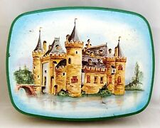 PATRIA Holland Vintage Green w/ Painting of Muiden Castle Metal BISCUIT TIN