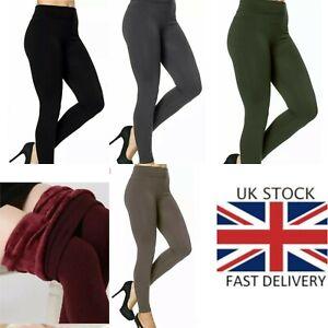 Ladies Winter Thermal Women Fitness Leggings Fleece Lined High  Size UK 6 -20