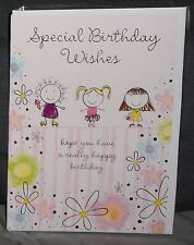 "BN-BIRTHDAY CARD - JUVENILE FEMALE/GIRL - STYLE 25 - ""FLOWERS/BIRTHDAY WISHES"""