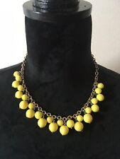 Bright Yellow Bead Necklace Silver Chain Princess Length