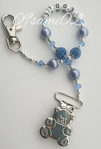 Personalised Bling Dummy Clip blue Crystal ❤romany❤  bear