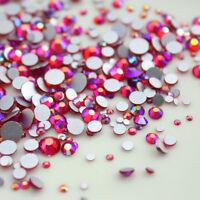 1440pcs Lt. Siam AB Nail Art Rhinestones Glitter Gems 3D Tips DIY Decoration