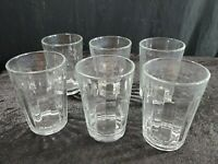Set of 6 Anchor Hocking Sure Guard Clear Ribbed Juice Glasses Vintage USA 4 1/8""