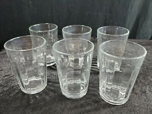 """Set of 6 Anchor Hocking Sure Guard Clear Ribbed Juice Glasses Vintage USA 4 1/8"""""""