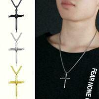 Männer Titan Mode Edelstahl Nagel Seil Kreuz Anhänger Halskette Schmuck R4M E7A4