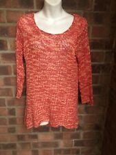 Orange Coral White Crochet Thin Knit Jumper / Sweater - Size 10 - FALLS CREEK