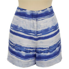 NWT TOMMY BAHAMA 100% Silk Blue White Watercolor Stripe Shorts Womens 6