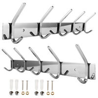 Coat 10 Hooks Rack Wall Mount SUS-304 Stainless Steel Hanger Clothes Hat Holder