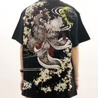 Mens T-Shirt Japanese Pattern Embroidery Discharge Enchantress Skull Moon Unisex
