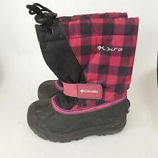Columbia Girls Powderbug Red Pink Black Plaid sz 11 Kids Winter Boots BY1281-011