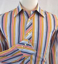 TED BAKER LONDON MENS SZ 16 X 34/35 COLORFUL VERTICAL STRIPED CASUAL DRESS SHIRT