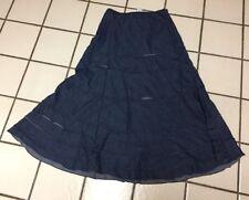 Tier Boho Peasant Ruffle Blue Denim Maxi Skirt Prairie Western Roper Sz S
