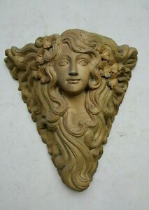 """RARE HAND 25""""CARVED FRENCH GOTHIC DEMON LADY MYSTICAL FANCY CHURCH WOOD CARVING"""