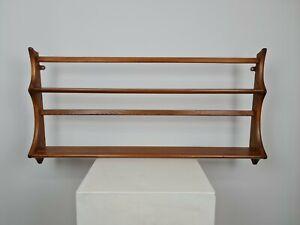 Retro Mid Century Ercol Wooden  Plate Rack Rail Wall Hanging Shelf - 97cm 1 of 3