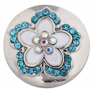 Opal Blue Rhinestone White Flower 18mm 20mm Snap Charm For Ginger Snaps Jewelry