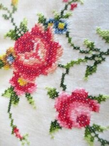 """Pretty Tablecloth Hand embroidered with Pink Roses & Hand crochet -50""""sq."""