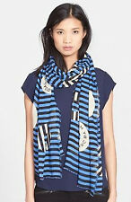 "Marc By Marc Jacobs ""Peephole Logo"" Modal /Silk Scarf Blue-STUNNING!slightsecond"