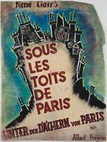 """Handgemaltes Filmplakat zu René Clair's """"Unter den Dächern von Paris"""", um 1930"""