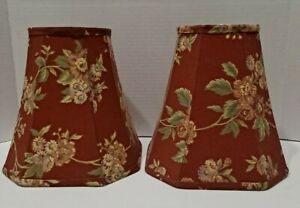 """Lot 2 Medium Tapered Lamp Shade Floral Red Fabric French Country 8"""" Tall"""