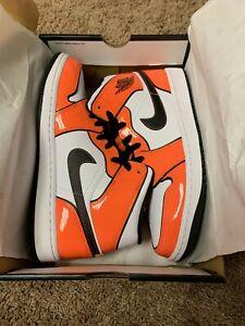 Nike Air Jordan 1 Mid Turf Orange SE White Patent Leather (DD6834-802) In-Hand