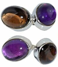 Amethyst and Smoky Quartz Cufflinks in Sterling SILVER, 925 chain 4 Gem CuffLink