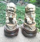 Matched Pair Of Vintage Carved Chinese Bone Bovine Guardian Lion Foo Dog Statue