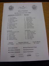 16/10/2010 Teamsheet: Dagenham And Redbridge v Walsall  . We try and inspect all