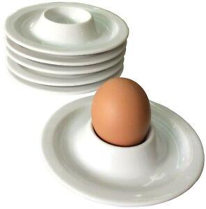 Dippy egg cups 6 set, white.Porcelain breakfast crockery,ceramic egg cup holders