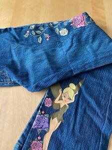 Disney Store Tinkerbell Stretch Denim Blue Jeans Women's Sz 6 Embroidered Flower
