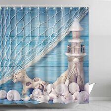 Lighthouse Shower Curtain Blue Seashell Shell Conch Washable Fabric Bath Decor