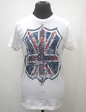 White flowery Union Flag crest t-shirt size S