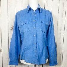 RYAN Michael Women's Western Pearl Snap Shirt Blue Mini Corduroy Floral Sz Small