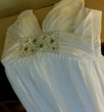 White with green accents mermaid style wedding gown